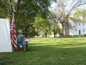One of my favorite pictures. Major Bogart seeking inspiration before the service at the 2012 muster.